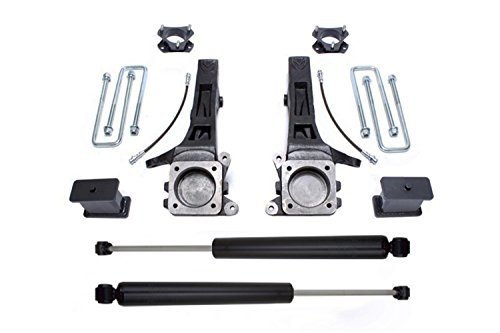 - MaxTrac K886864 Suspension Lift Kit w/Shocks 6 in. Lift Incl. Front Spindles With Brake Lines/Front Strut Spacers/Rear Blocks/U-Bolts/Rear Brake Line Brackets/Rear MaxTrac Shocks Suspension Lift Kit w/Shocks