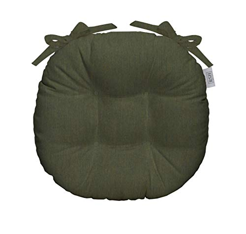 RSH Décor Indoor/Outdoor Round Tufted Bistro Chair Cushion with Ties - Made with Sunbrella Canvas Fern - Bath Bistro