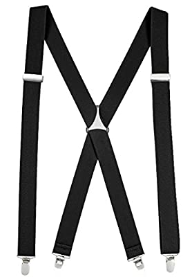 """Suspenders For Men X-back Adjustable Straight Clip on Suspenders Made in USA - Sizes 46"""" and 54"""""""
