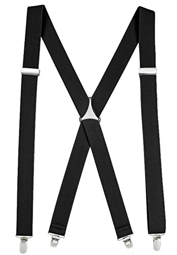 "Suspenders For Men X-back Adjustable Straight Clip on Suspenders Made in USA - Sizes 46"" and 54"""