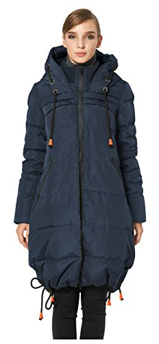 Orolay Women's Thickened Contrast Color Drawstring Down Hooded Coat Navy M