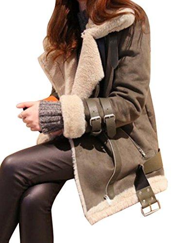 SYTX Women Zipper Faux Suede Fur Lined Aviator Biker Jacket Coat Outwear 3 L