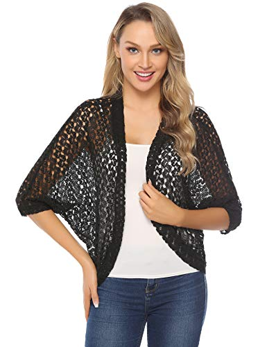 (Hawiton Women's 3/4 Sleeve Shrug Lace Crochet Open Front Cardigan Bolero Jackets Black)