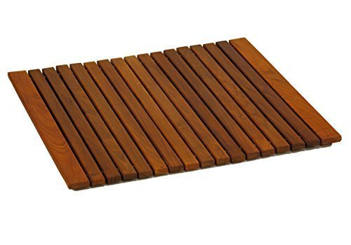 Bare Decor Lykos String Spa Shower Mat in Solid Teak Wood Oiled Finish, Large