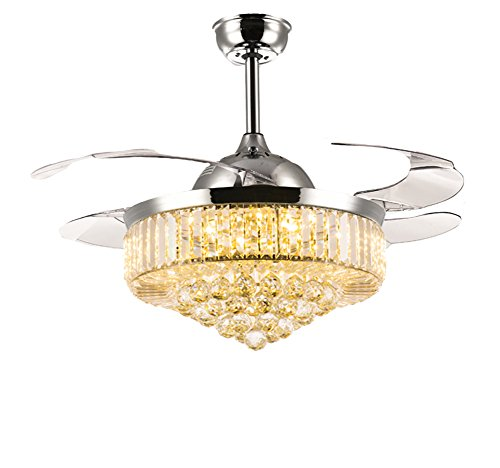 7PM Retractable Ceiling Fans 42 Inch Crystal Invisible Chandelier Fan with Remote Control Dimmable LED Light Warm White, Daylight White, Cool White for Decorate Living Room Dining Room Chrome Finished Review
