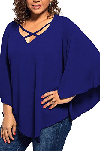 PinkWind Women's Plus Size Tops Criss Cross V Neck Batwing Sleeve Loose Casual Blouse T Shirt Top(Royal Blue)
