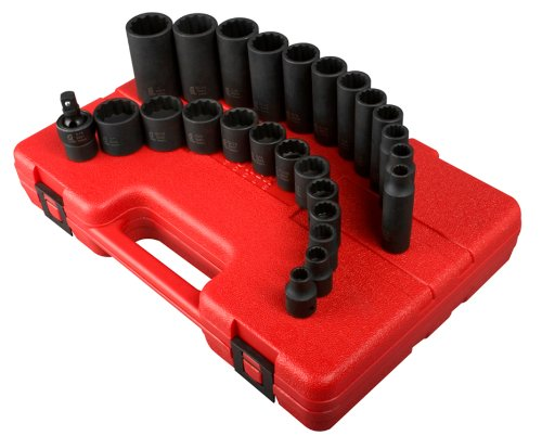 Sunex 3326 3/8-Inch Drive 12-Point SAE Impact Socket Set, 25-Piece (Sae Socket Impact Set)