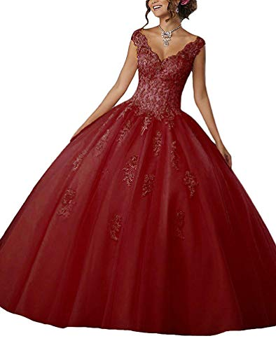 Gown Quinceanera New (Gemila Women's Lace Applique Beaded Sweet 15 Tulle Floor Length PartyBall Gown Quinceanera Dress Burgundy US8)