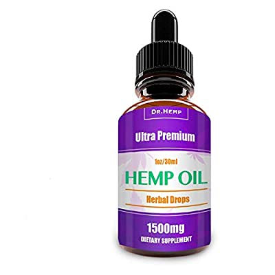 Hemp Oil Drops 1500mg, 100% Pure Natural Ingredients Full Spectrum Co2 Extracted, Anti-inflammatory, Help Reduce Stress, Anxiety and Pain, Vegan Vegetarian Friendly by HempLab