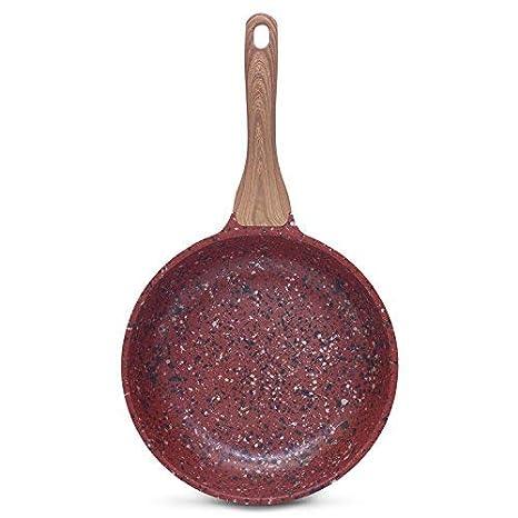 DECO EXPRESS Sartén Antiadherente de Cobre con Revestimiento de Piedra Mango Efecto de Madera 28cm: Amazon.es: Hogar