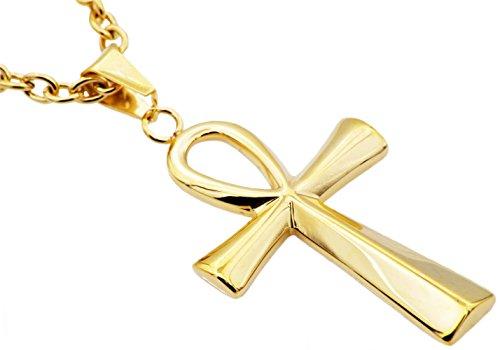 Mens Blackjack Stainless Steel Ankh Cross Pendant (Stainless-Steel-and-Gold)