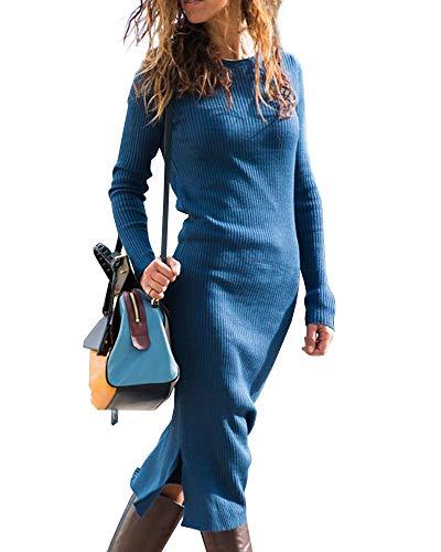 Valphsio Womens Bodycon Sweater Dress Long Sleeve Split Crew Neck Ribbed Knit Maxi Dresses
