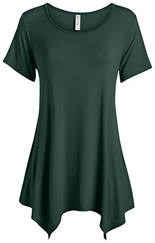 Hunter Green Tunic Tops for Women Reg and Plus Size Short Sleeve Tunics (Size Small, Hunter Green) ()