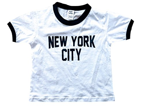 New York City Toddler John Lennon Ringer NYC Baby Tee Beatles T-shirt White (2T)