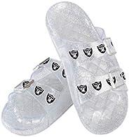 Las Vegas Raiders NFL Womens Glitter Double Buckle Sandal - M