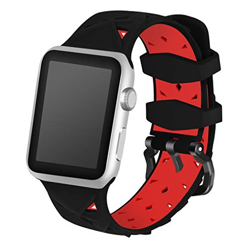 Sodoop Compatible for Apple Watch Band 38/40mm,Soft Sport Silicone Two-Tone Hollow Replaceable Bands,Waterproof Breathable Wristband Straps Compatible for iWatch Series 4/3/2/1