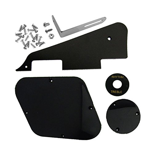 (IKN 1set Black Pickguard/Cavity/Switch Covers/Pickup Selector Plate/Bracket/Screws for LP Guitar Style)