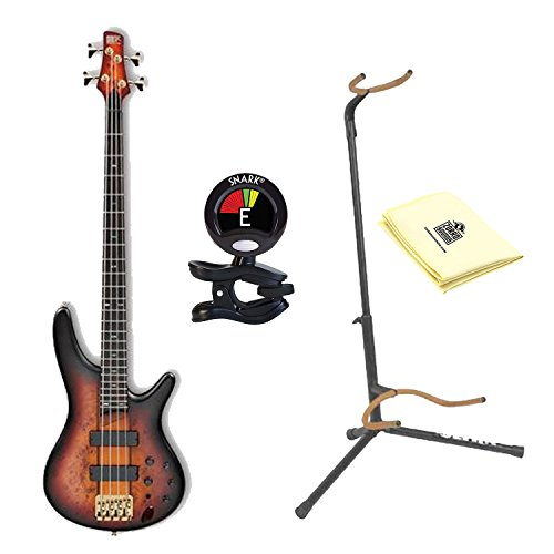 Ibanez SR800 4-String Electric Bass Guitar in Aged Whiskey Burst Finish with Ultra 2445BK Basic Guitar Stand, Snark SN5X Clip-On Tuner and Custom Designed Instrument Cloth Ultra 2445bk Guitar Stand