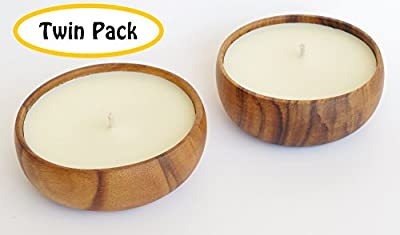 Tuberose Scented Soy Candle (TWIN PACK) in Acacia Wood Bowl - Made with 100% NATURAL SOY WAX, Essential & Natural Oils - 100% NATURAL SOY WAX is Non Toxic, Non GMO, Burns Clean and No Black Soot - Also Great for Aromatherapy, Luau Party & MORE - 100% Sati