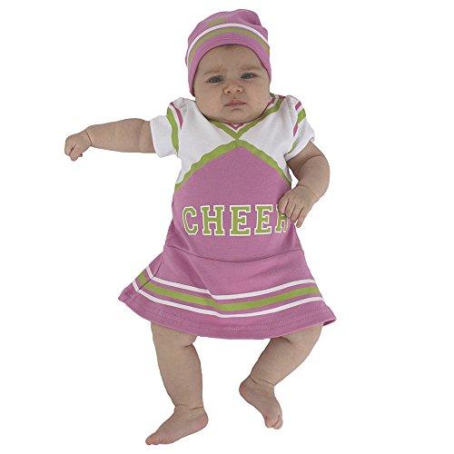 Sozo Baby Girls Cheerleader Bodysuit & Cap Set, Pink/White/Green 3-6 Months ()