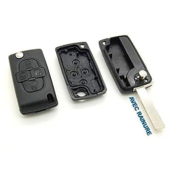 Citröen - Carcasa para llave-mando, con 4 botones y ranura, para Citroen C8