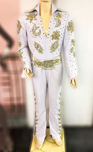 (Da NeeNa Elvis Presley Inspired Singer The King Natureelvis Belt Jumpsuit CostumeXS-XL)