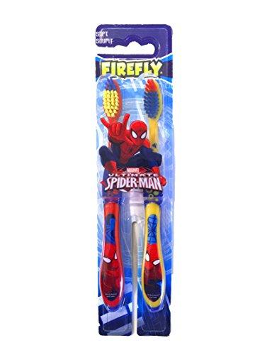 Marvel Ultimate Spider-Man Fire Fly Soft Toothbrush for Kids - 2 Count (Spider-Man) (Kids Toothbrushes Marvel)