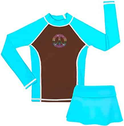 UV 2-8 Years Funnycokid Girls Rash Guard Swimsuit Set Long Sleeve Two Piece Bathing Suit with UPF 50