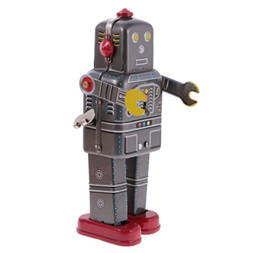 MonkeyJack Vintage Wind Up Tin Toy Clockwork Metal Mechanical Walking Robot MS439 Gifts ()