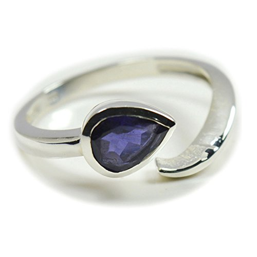 55Carat Real Iolite Silver Ring Blue Gemstone Adjustable Handmade Bezel Style Size 4,5,6,7,8,9,10,11,12 (Ring Bezel Iolite)