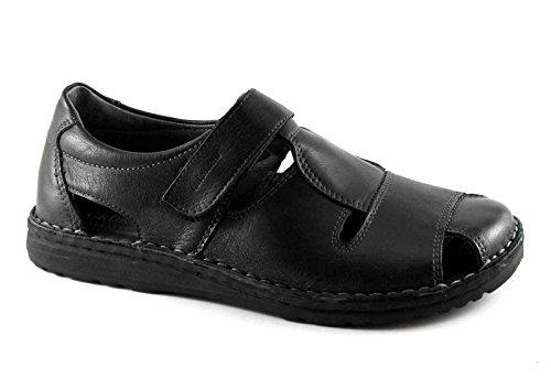 Strappo Uomo Nero Pelle GRUNLAND LAPO SA1515 Sandalo Nero Scarpa CwqRn0axnU