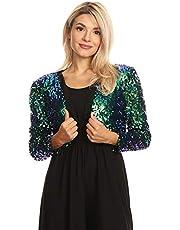 ANNA-KACI Womens Shiny Sequin Long Sleeve Cropped Bolero Jacket