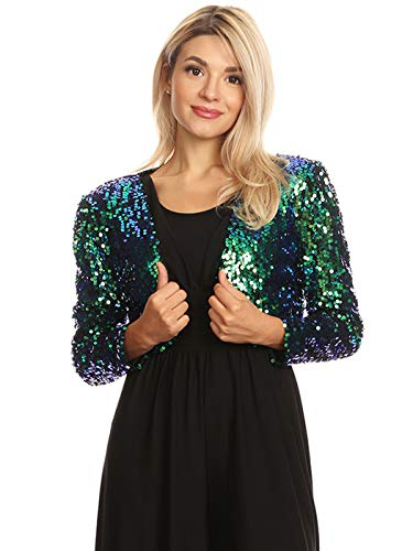 Anna-Kaci Womens Shiny Sequin Long Sleeve Glitter Cropped Blazer Bolero Shrug, Mermaid, ()