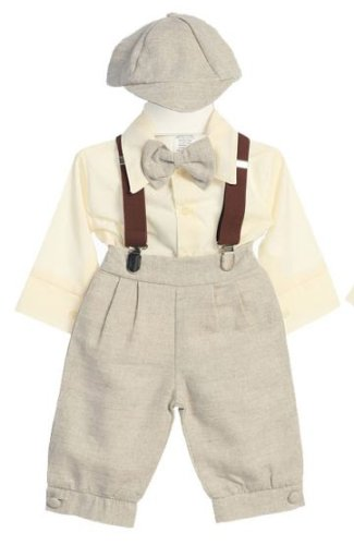 1930s Childrens Fashion: Girls, Boys, Toddler, Baby Costumes DapperLads Fouger Baby Boys Linen Solid Tan 5 - Piece Knicker Set $36.00 AT vintagedancer.com