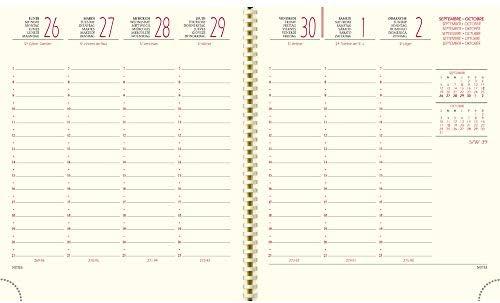 EXACOMPTA 1862719E SAD 18S Semainier de bureau /à spirale format 17 cm x 15 cm septembre 2020 /à d/écembre 2021 M/éline rose clair