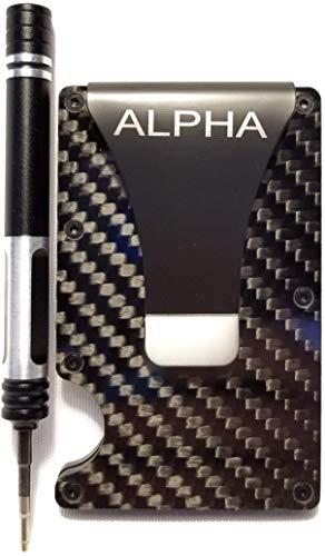 Alpha Wallet, Minimalist Carbon Fibre Slim Wallet , Slim Wallet & RFID Blocking Front Pocket Wallet Minimalist Wallet for Men And Women, aluminum wallet