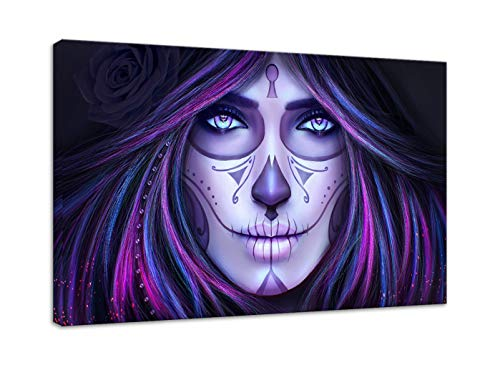AMEMNY Day of The Dead Canvas Animated Tattoo Girls Wall Art Sugar Skull Beautiful Woman Face Painting Modern Posters and Prints Pictures for Living Room Home Decor Framed Stretched Ready to Hang ()
