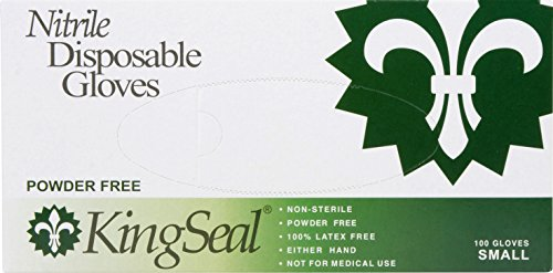 KingSeal Nitrile Disposable Gloves, Powder-Free, Blue, 4 mil, Extra Large - 4 boxes of 100 gloves by KingSeal