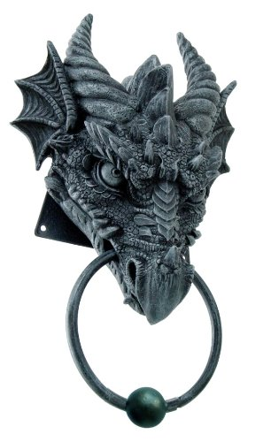 1 X ANCIENT HORNED DRAGON HEAD RESIN DOOR KNOCKER AWESOME HOME DECOR