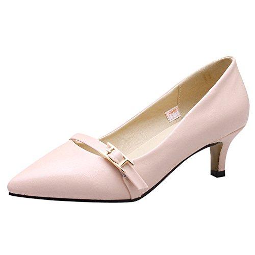 Elegant Schuhe Rosa Carolbar Ferse Gericht Charm Frauen Mitte Toe Pointed Schnalle pWTW5Pvzx