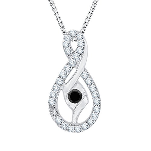 Sirena Diamond Necklace - Center Black and White Diamond Pendant Necklace in 10K White Gold (1/4 cttw) (Color GH, Clarity I2-I3)