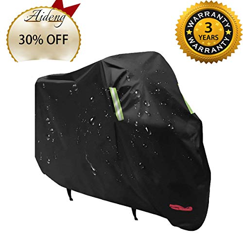 Aideng Motorcycle Rain Cover, 210 0D Oxford All Season Super Waterproof Motorcycle Snow Cover Breathable XXL 104 Inches Bicycles Shelter Dust Cover for Harley, Triumph, Suzuki, Honda Yamaha and More