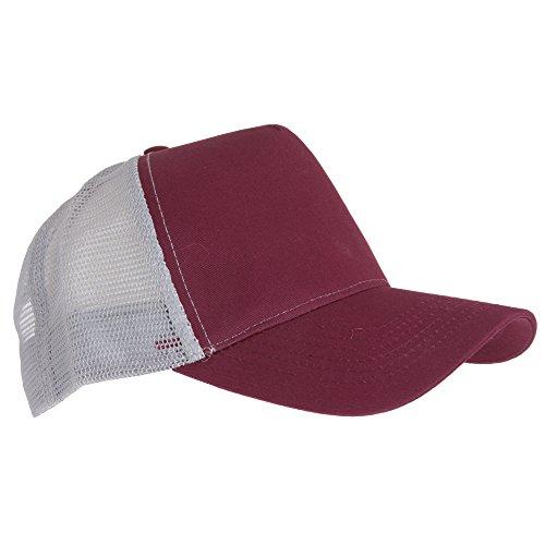 (Beechfield Mens Half Mesh Trucker Cap / Headwear (One Size) (Burgundy/ Light Grey))
