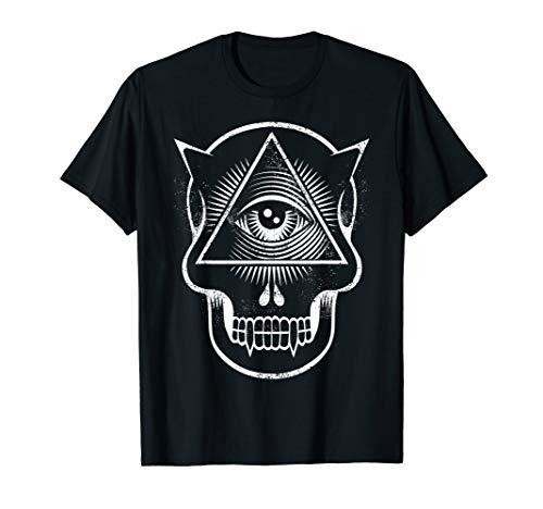 Satan God Eye Fang Horn Skull T-Shirt