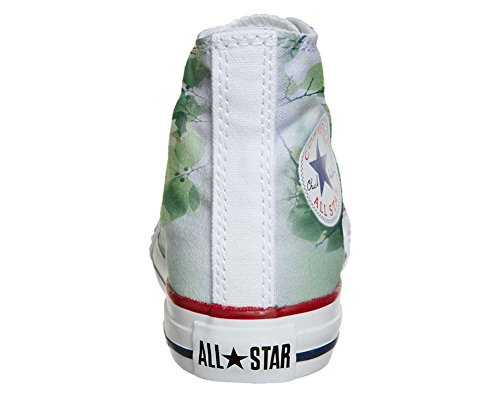 Converse Customized Adulte - chaussures coutume (produit artisanal) Green fleur