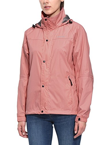 Baleaf Women's Waterproof Lightweight Hooded Rain Jacket Lined Rainwear Raincoat Windbreaker Pink Sand Size - Breaker Womens