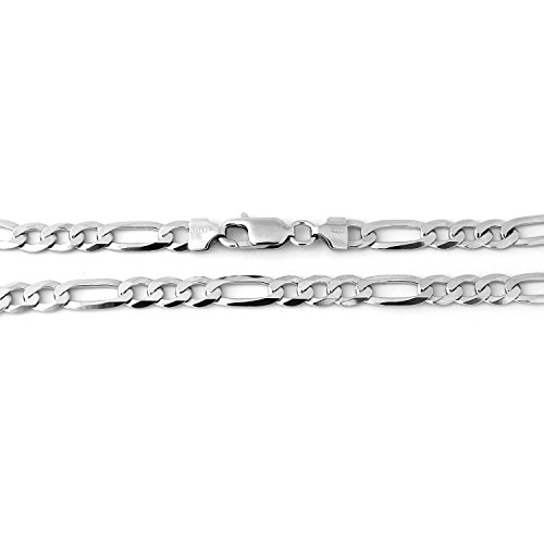 Men's Solid Sterling Silver Rhodium Plated 5mm Figaro Chain Necklace, 20