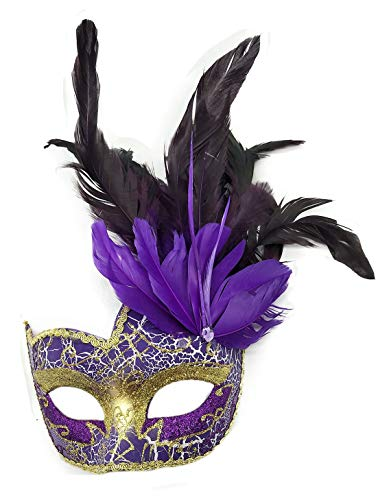 Purple Costume Feather Mask - Women's Feather Masquerade Mask Venetian Halloween Mardi Gras Costumes Party Ball Prom Mask (Purple)