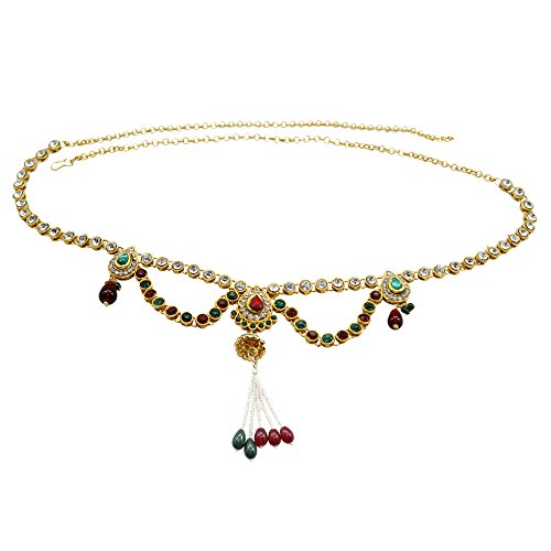 Frabjous Designer Red and Green Gold Plated Waist Band Jewellery For Women