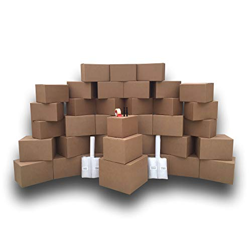(36 Moving Boxes, 2 Room Basic Moving Kit, Tape, Bubble, Packing)